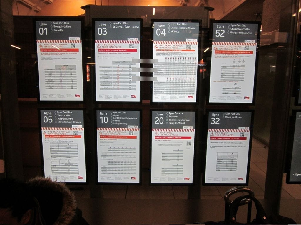 affichage horaires TCL - application affichage - gare